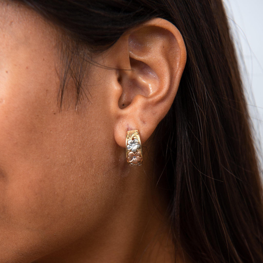 Hawaiian Heirloom Plumeria Half Hoop Earrings in 14K Yellow, Rose and White Gold on Model