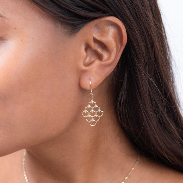Mermaid Scales (25mm) Earrings in 14K Yellow Gold with Diamonds on Model