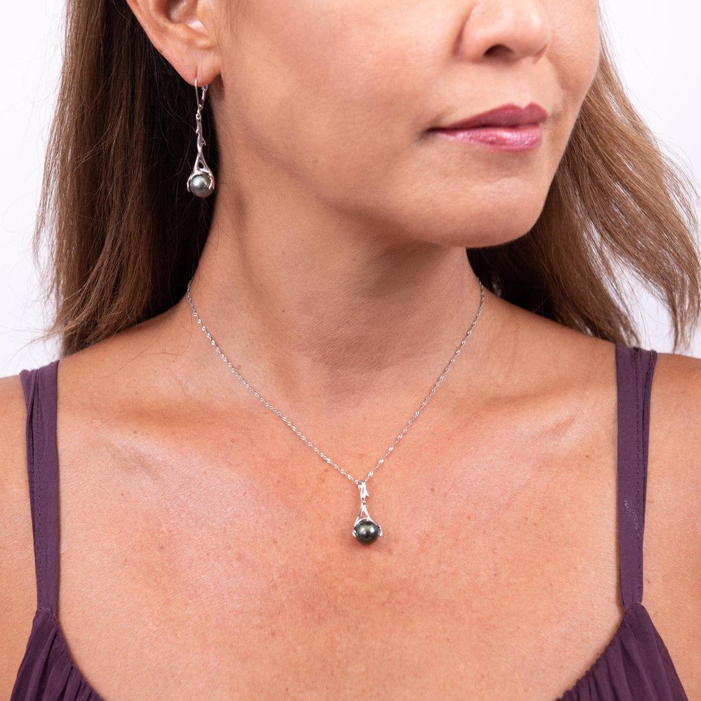 Hawaiian Heritage Black Coral Pendant in White Gold - 25mm-[SKU]