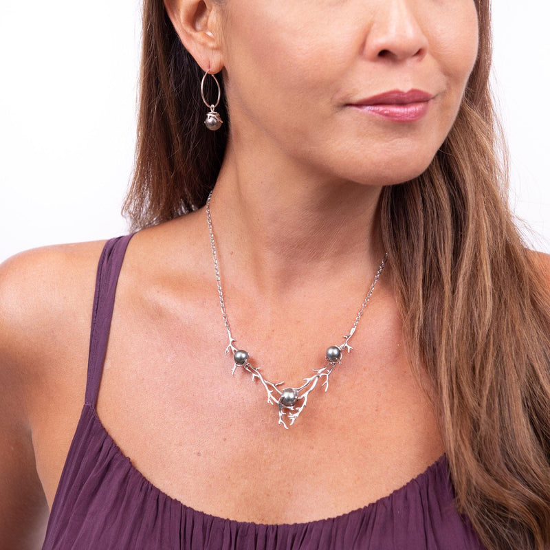 Hawaiian Heritage Tahitian Pearl Necklace in White Gold-[SKU]