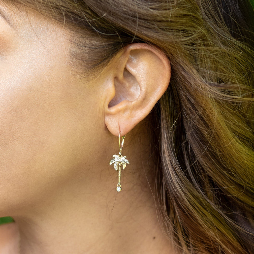 Paradise Palms Earrings in Gold with Diamonds - 24mm