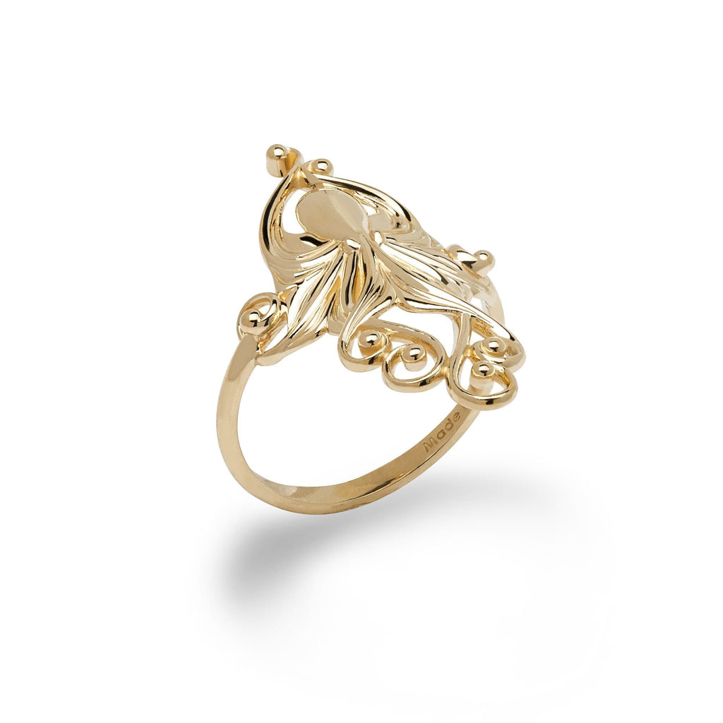 Living Heirloom Octopus Ring in Gold - 28mm - Maui Divers Jewelry