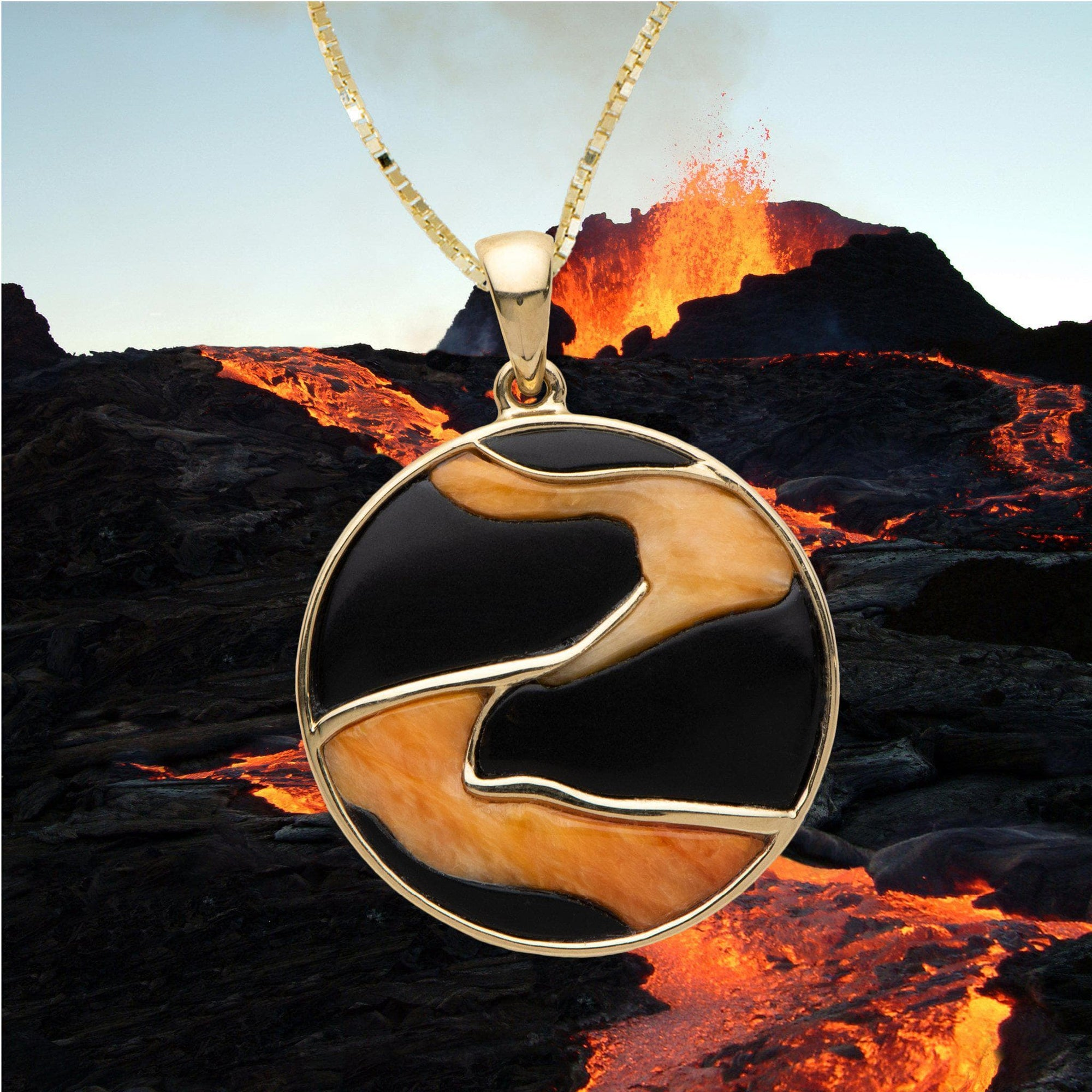 Hawaiian Moments Lava Pendant with Black Coral and Spiny Oyster in 14K Yellow Gold - Maui Divers Jewelry