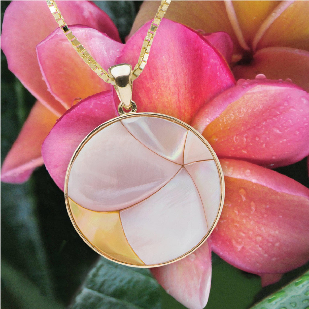 Hawaiian Moments Mother of Pearl Pendant in Gold - 22mm-[SKU]