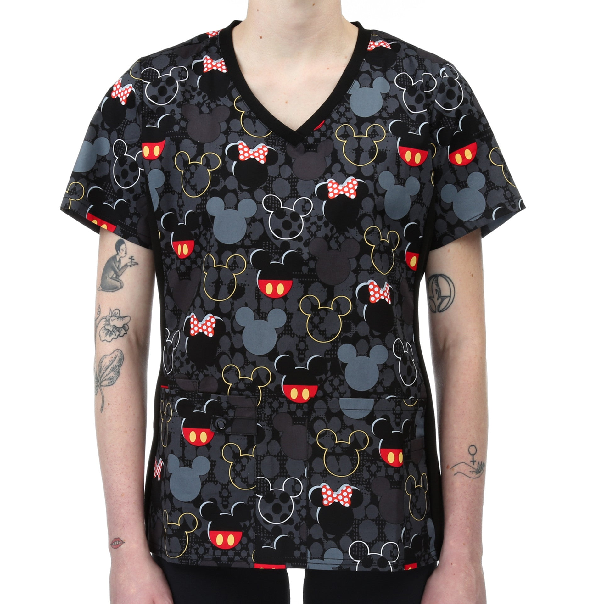 d747fc980be Cherokee Tooniforms Disney Scrub Top - Button and Bows - New Star