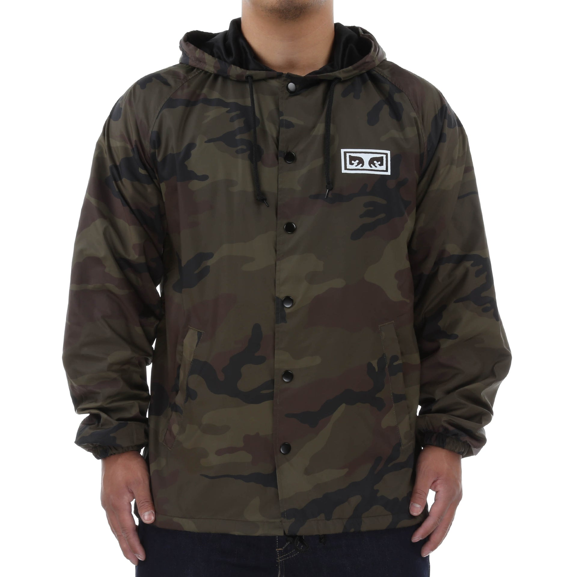 bfcf547b39b62 Obey No One Hooded Coaches Jacket - Camo - New Star