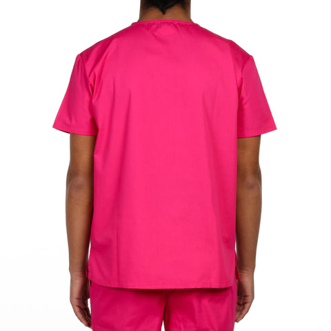 Dickies Unisex V-Neck One Pocket Scrub Top - Hot Pink