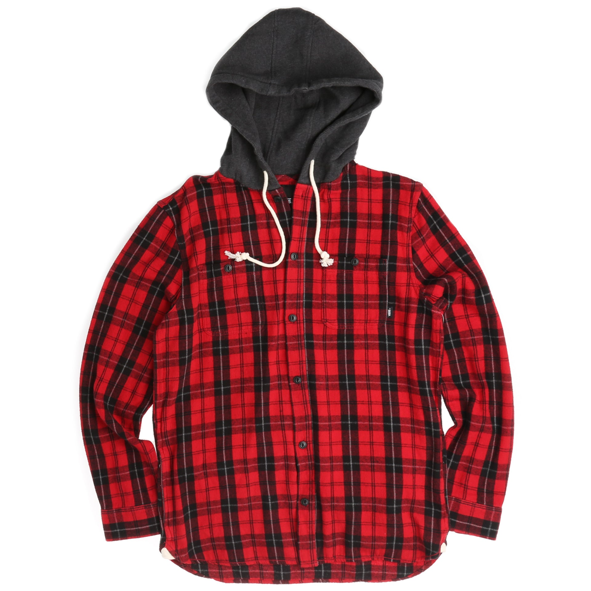 968d6fc8c6 Vans Lopez Button Down Flannel Hoodie - Chili Pepper  Black - New Star