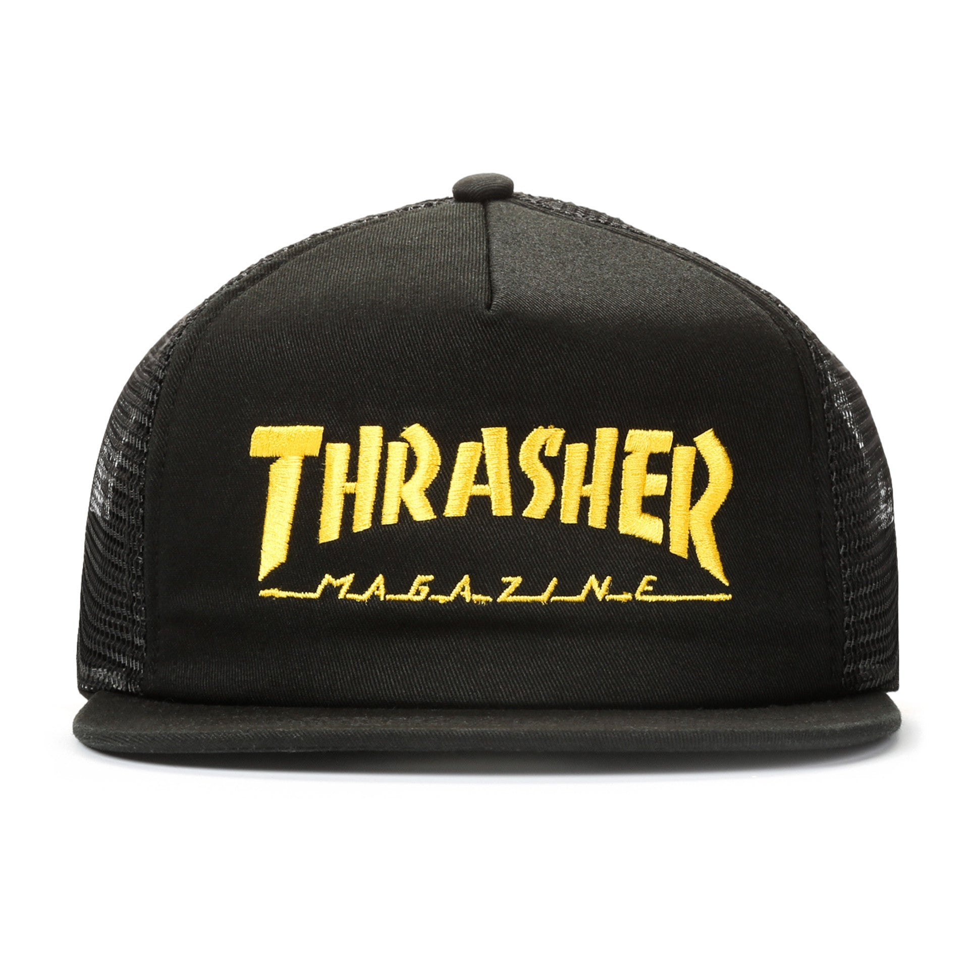 7b8903f8a12 Thrasher Embroidered Logo Mesh Cap - Black Yellow - New Star