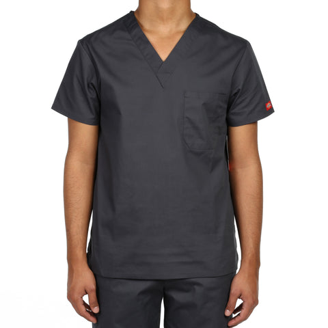 Dickies Unisex V-Neck One Pocket Scrub Top - Pewter