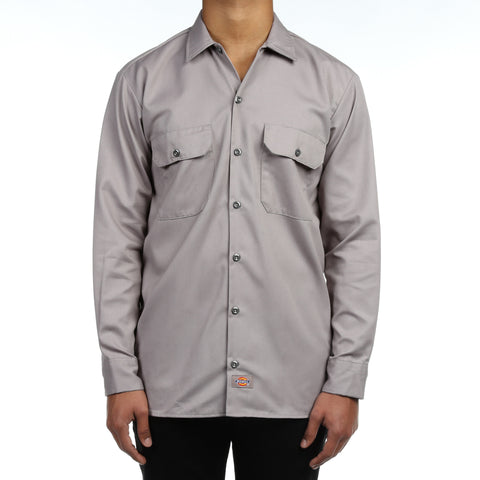 Dickies Mens L/S Work Shirt - Silver