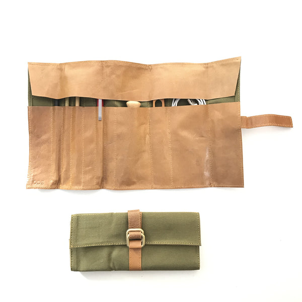 Travel Pen Roll with leather and heavy duty cotton