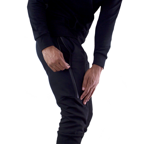 Mungo Premium Tech Black Jogger Bottoms