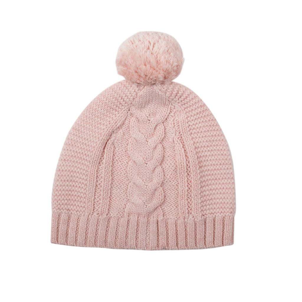 Lighterweight Cable Beanie - Blush Pink