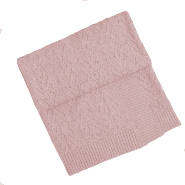 Heart Cable Bassinet Blanket  -  Blush Pink
