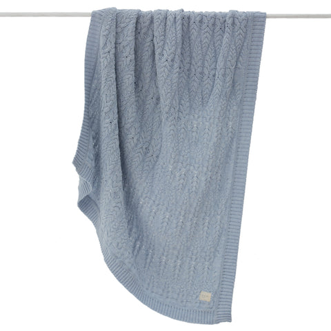 Cable Heirloom Blanket  - Pale blue