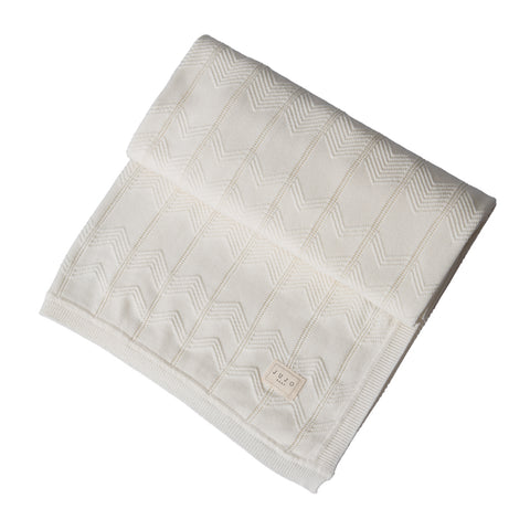 Chevron pointelle Cot Blanket - Milk