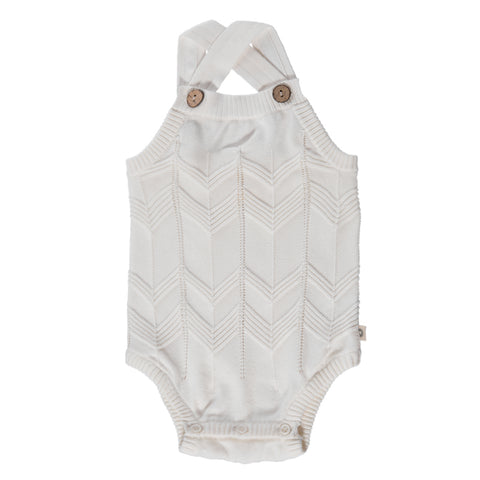 Chevron Lace Knit Onesie - Milk