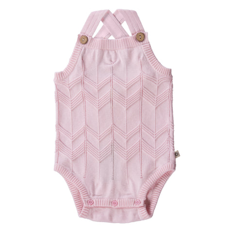 Chevron Lace Knit Onesie - Pink