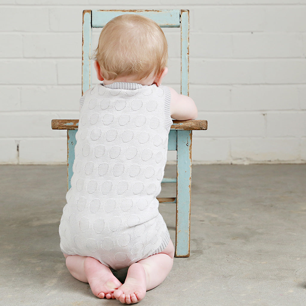 Spot Stripe Knit Onesie - Dove Grey/Ecru