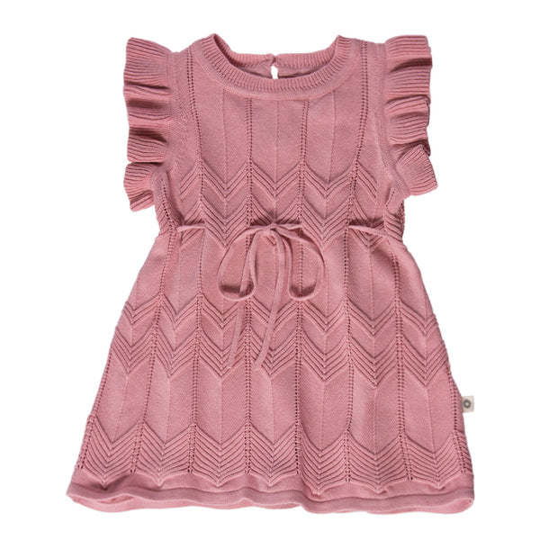 Chevron Lace Knit Dress - Rose