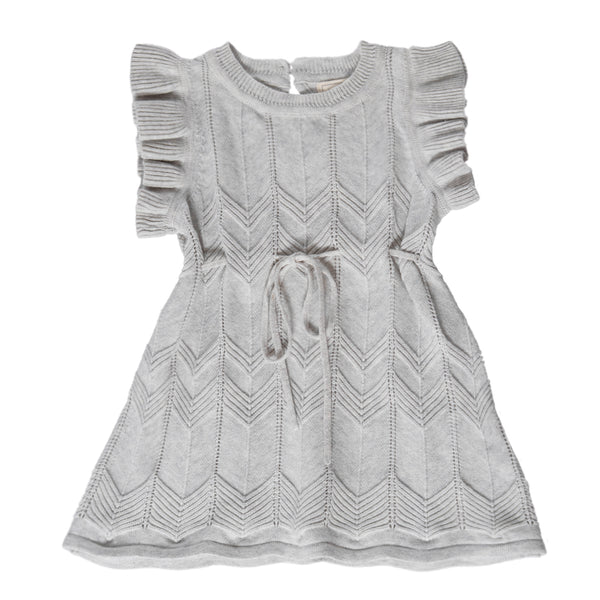 Chevron Lace Knit Dress - Silver