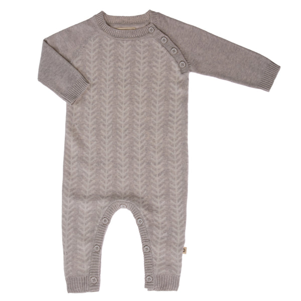 Feathered Line Onesie - Silver /Ecru