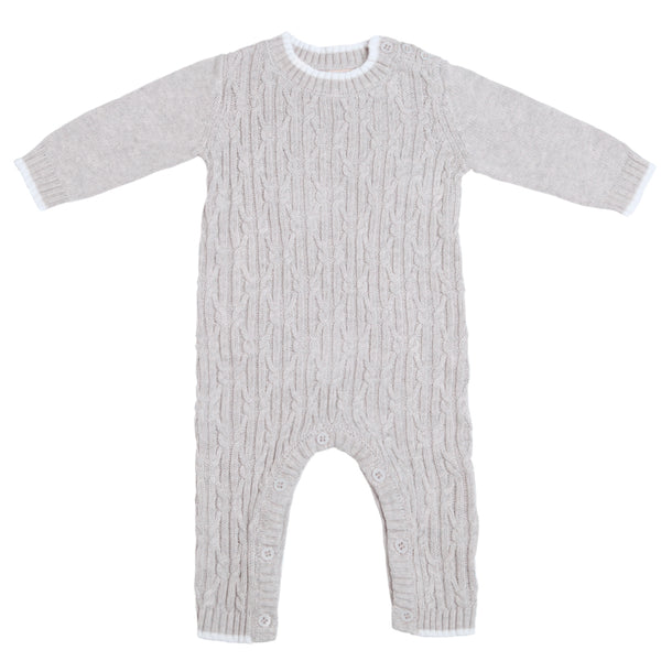 Lattice Cable Onesie - Silver