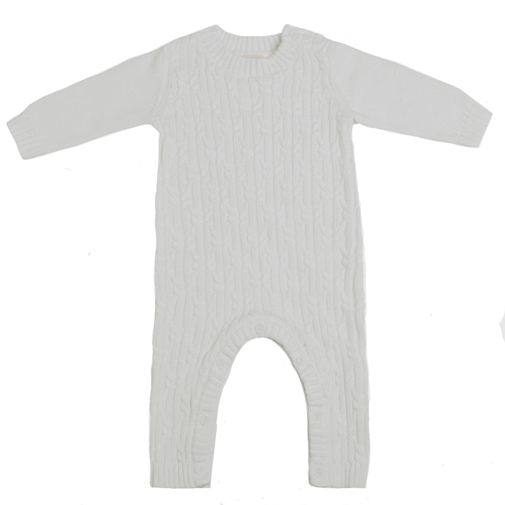 Lattice Cable Onesie - Chalk