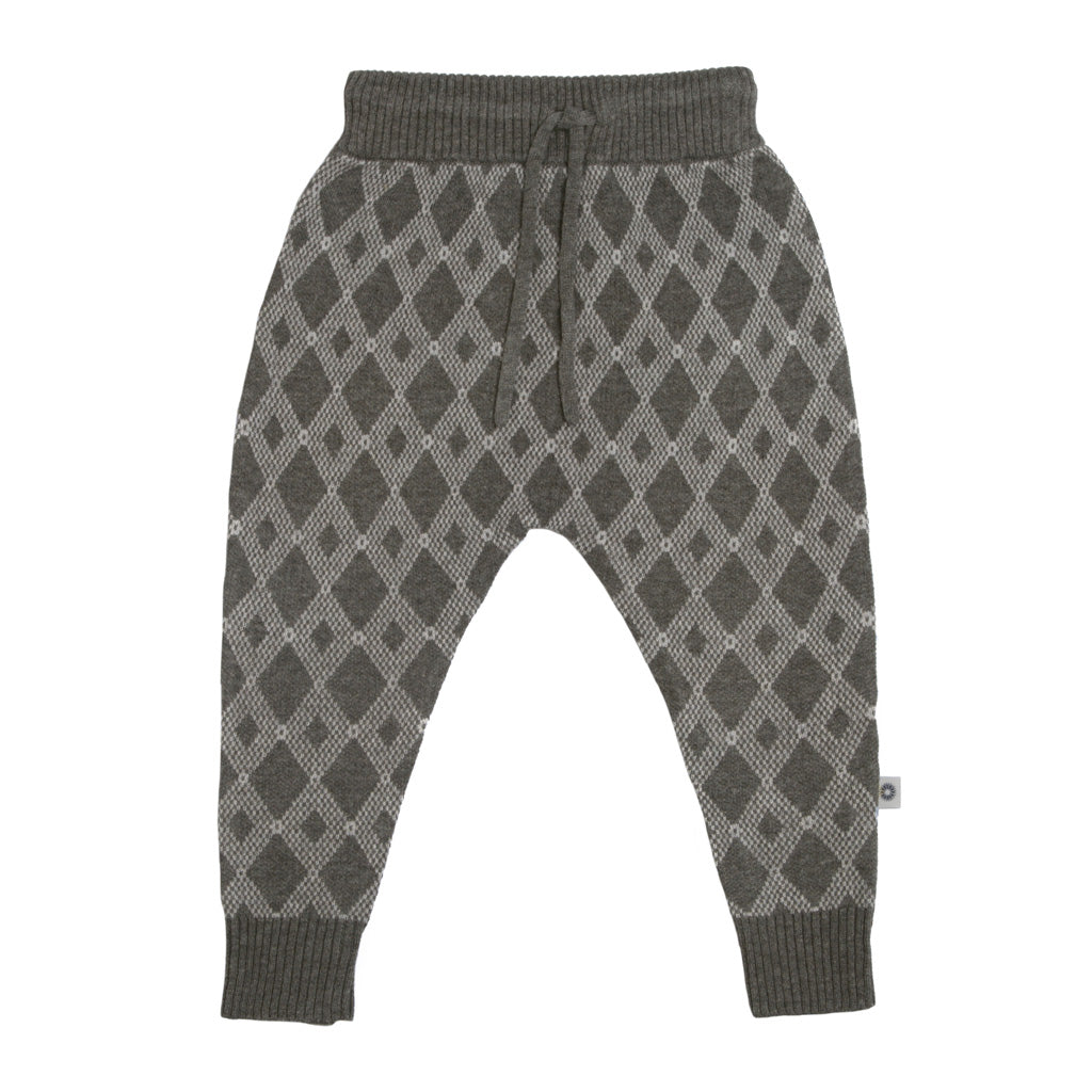 Diamond Jacquard Pant - Charcoal