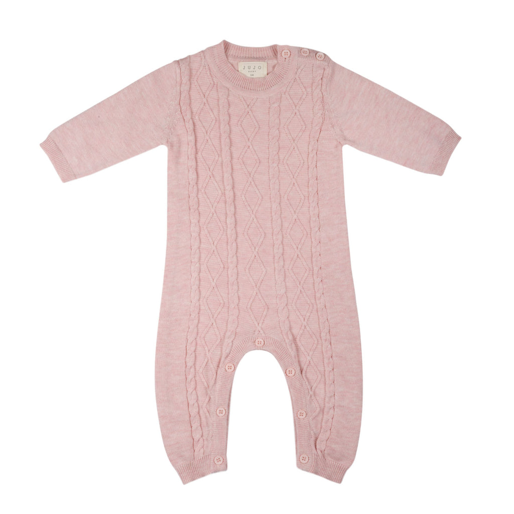 Lightweight fine knit Cable Onesie - Blush Pink