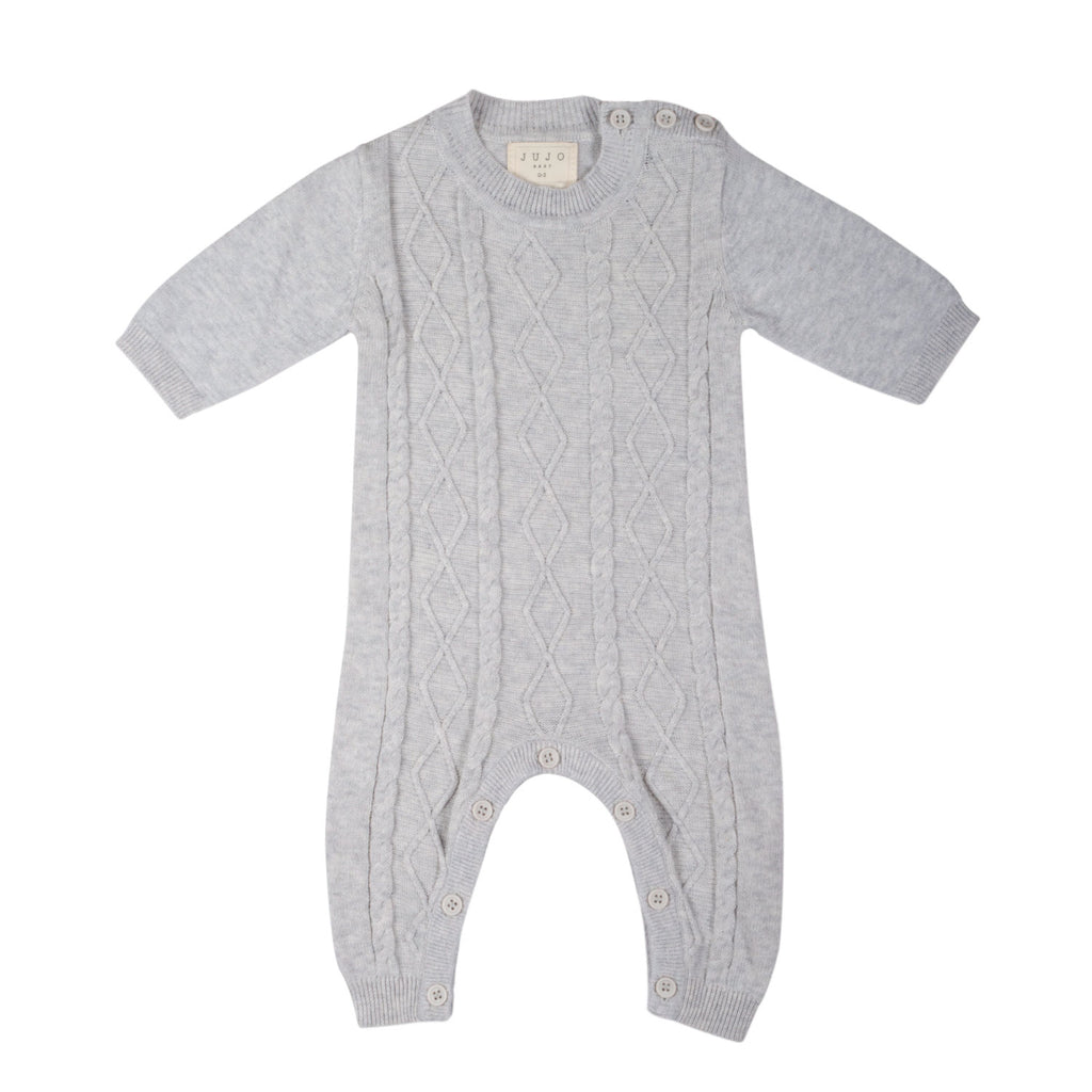 Lightweight fine knit Cable Onesie - Silver