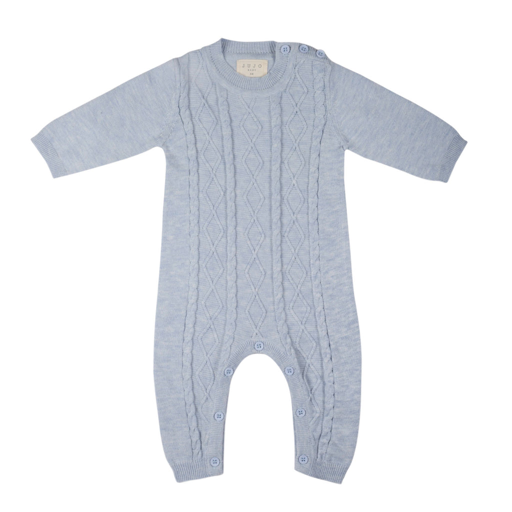 Lightweight fine knit Cable Onesie - Pale Blue