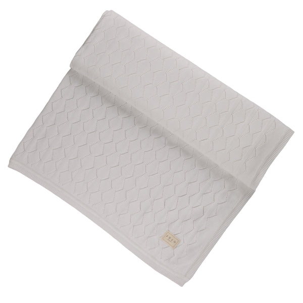 Diamond pointelle Cot Blanket - white