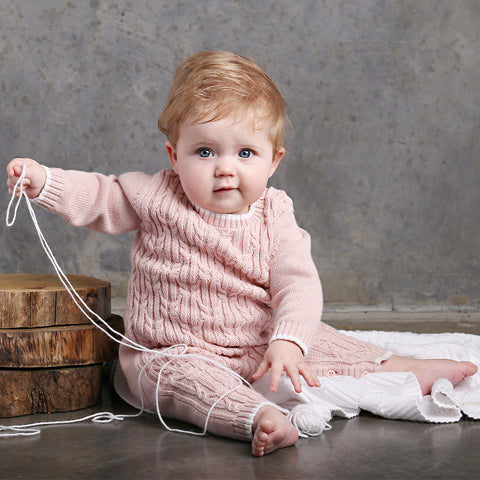 Lattice Cable Onesie - Blush Pink