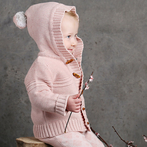 Pompom Hood Knit Jacket - Blush Pink