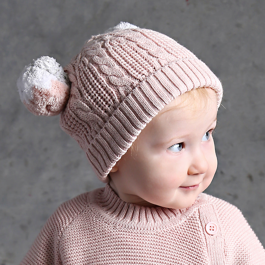 Pompom Cable Beanie - Blush Pink