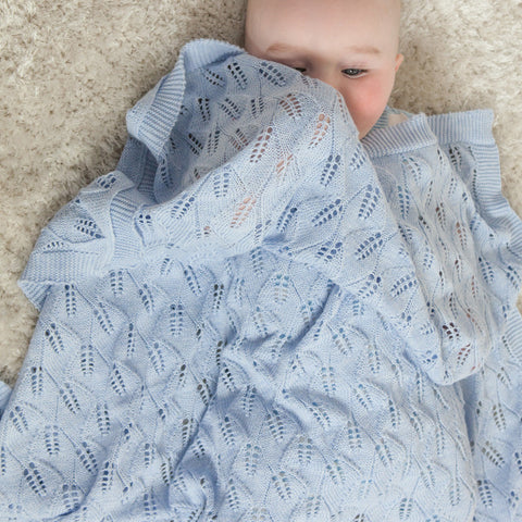 Leaf Lace Cot Blanket - Pale Blue