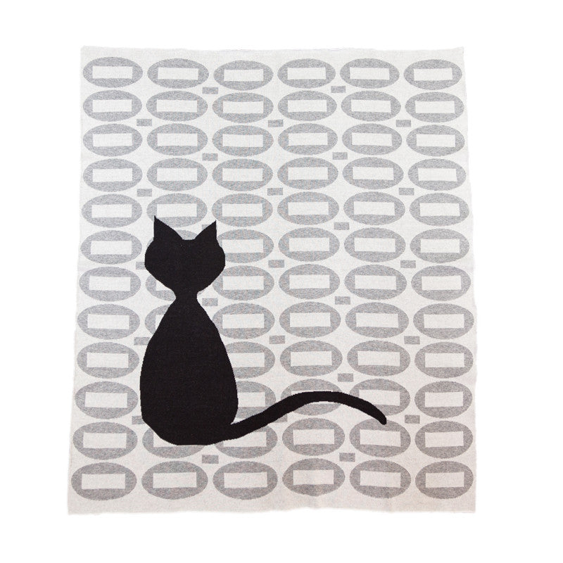 Retro Jacquard Cat Blanket
