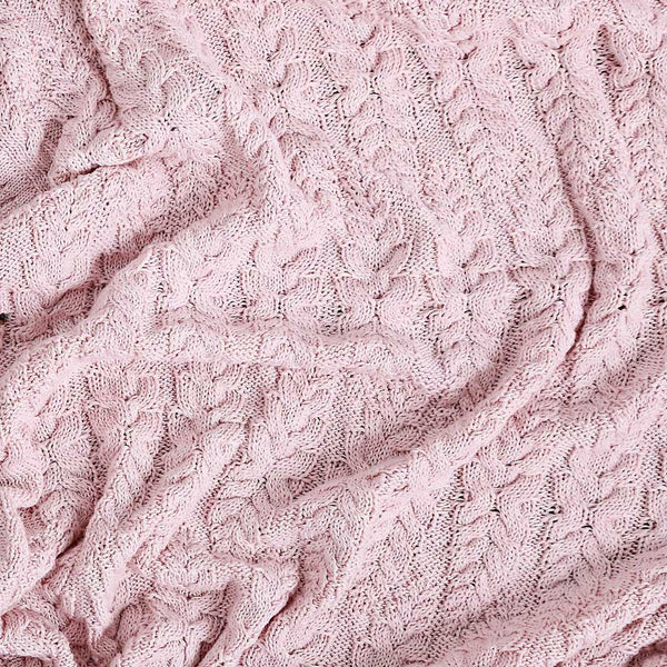 Cable Heirloom Blanket  - Blush Pink