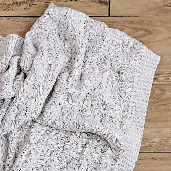 Cable Heirloom Blanket  - silver
