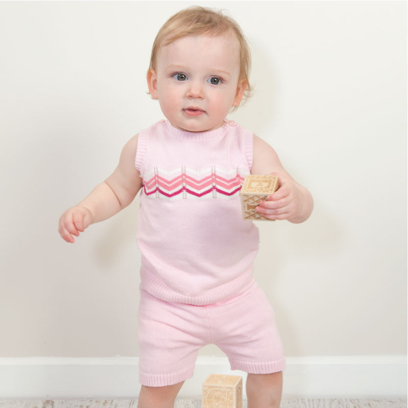 Knitted chevron Tank Pink