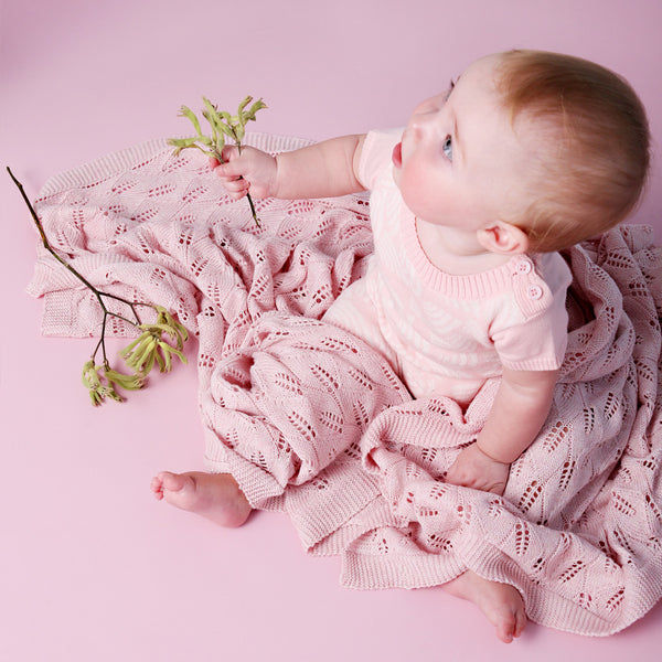 Leaf Lace Blanket - Blush Pink - Bassinet Size