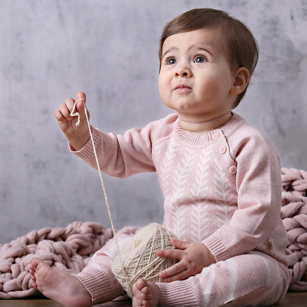 Feathered Line Onesie - Pink /Ecru