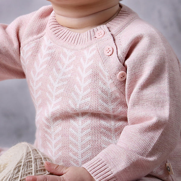 Feathered Line Jumper - Pink/ecru