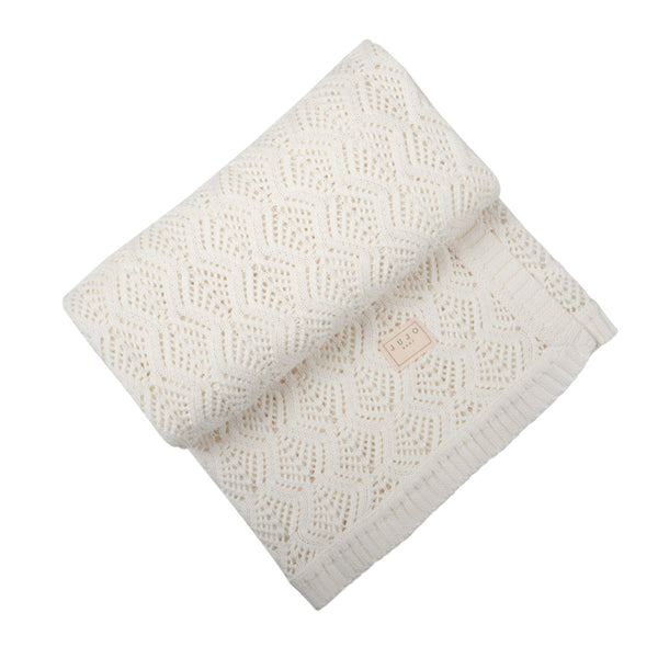 Trellis Lace blanket - Milk