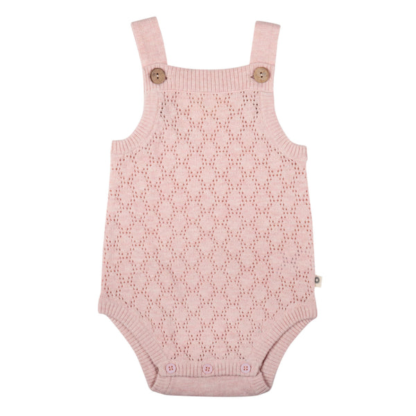 Pointelle Lace Knit Onesie - Blush Pink