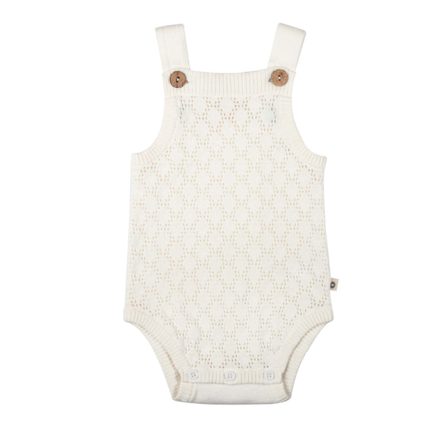 Pointelle Lace Knit Onesie - Milk