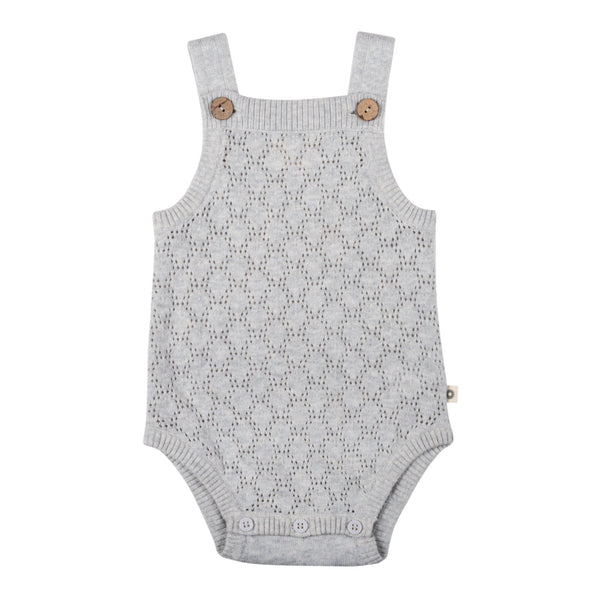 Pointelle Lace Knit Onesie - Silver