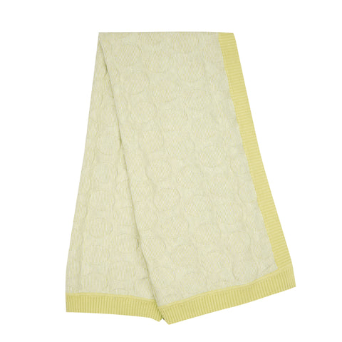 Spot stripe lightweight Blanket - Lemon/Ecru